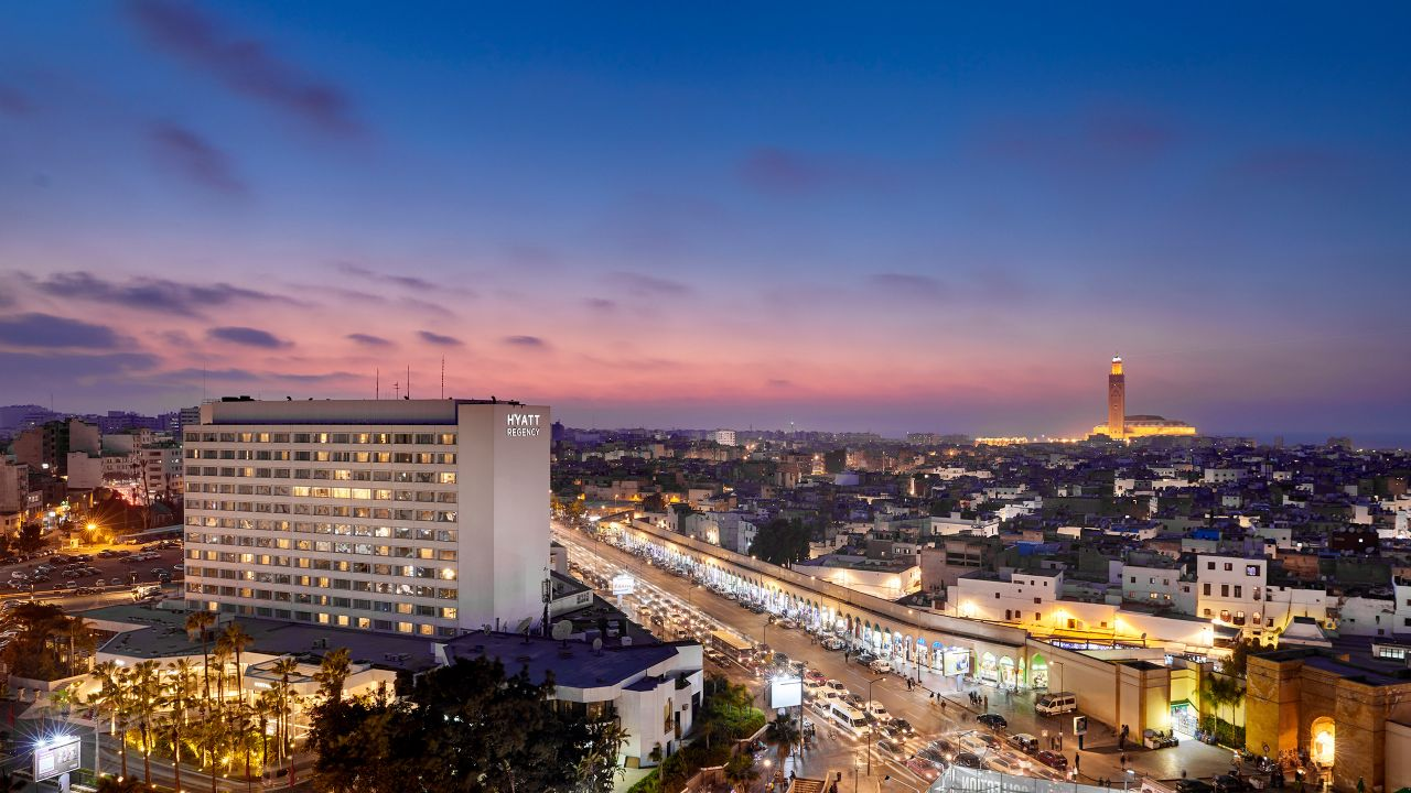 Aerial view of Hyatt Regency Casablanca at dusk