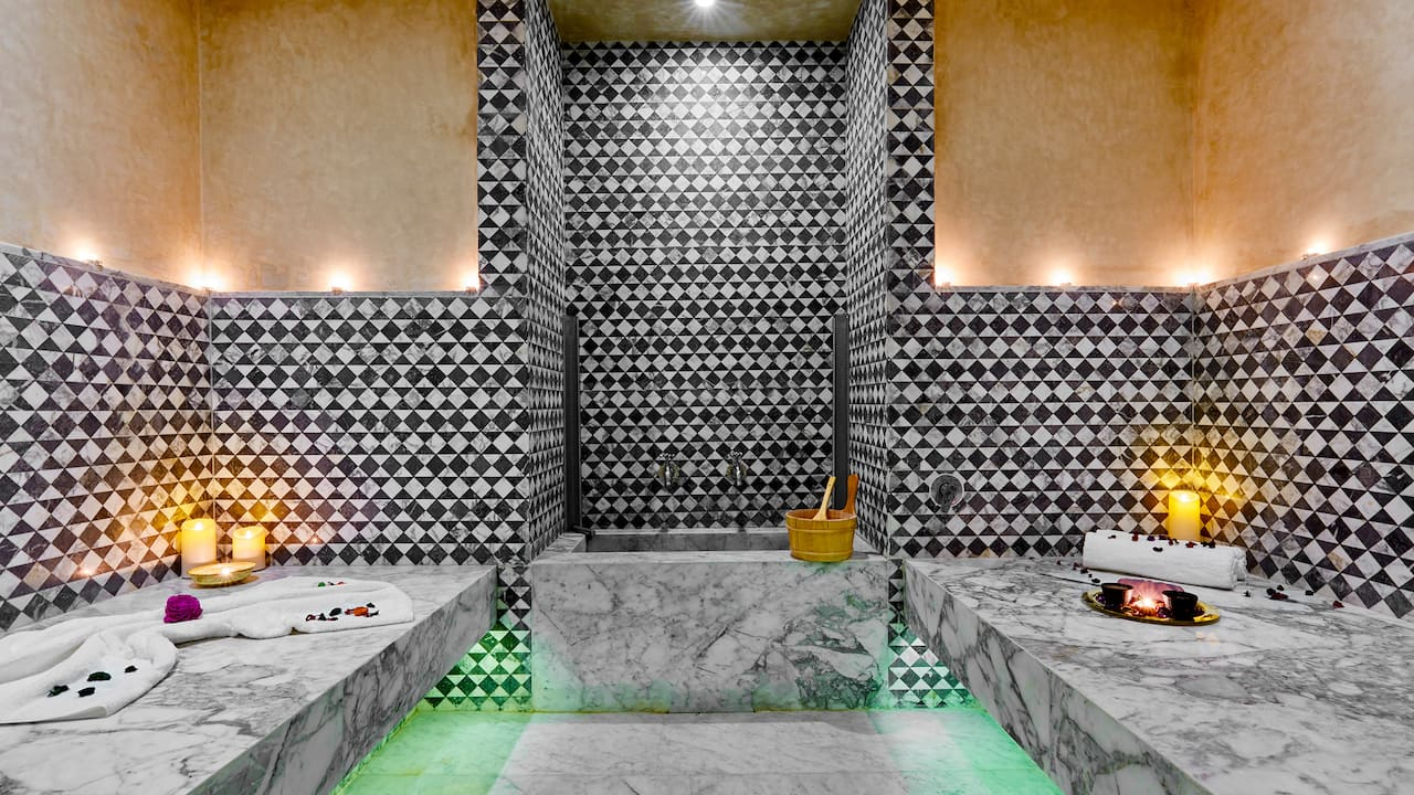 Gray marble hammam hot steam bath at Hyatt Regency Casablanca