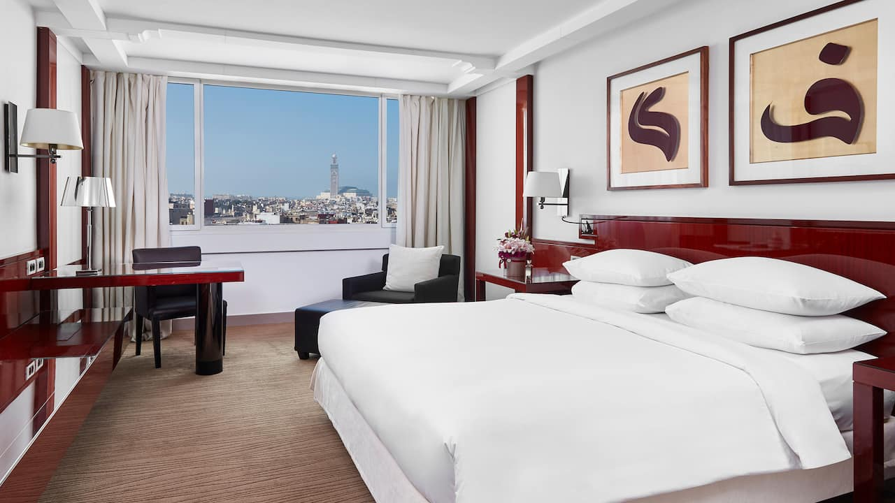King room with view of Casablanca skyline