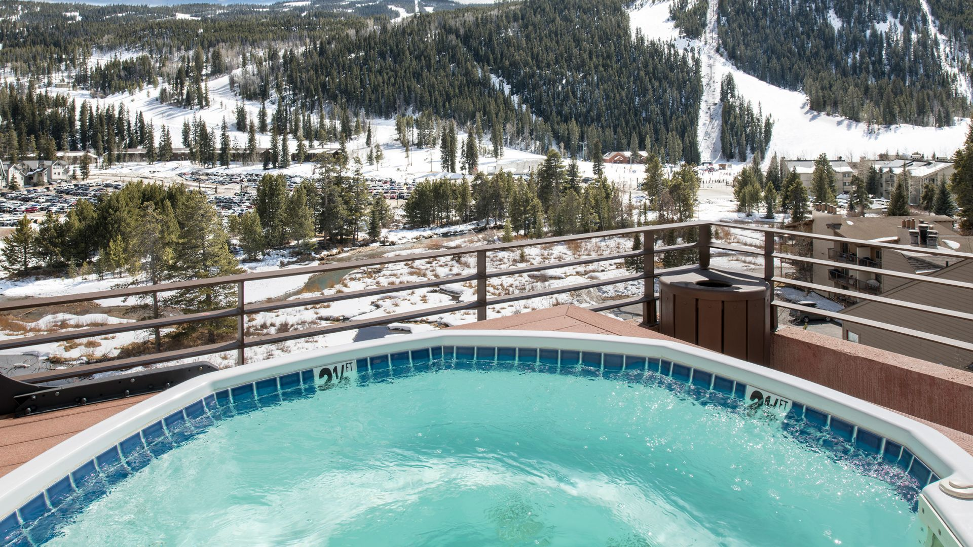 Hot tub with mountains