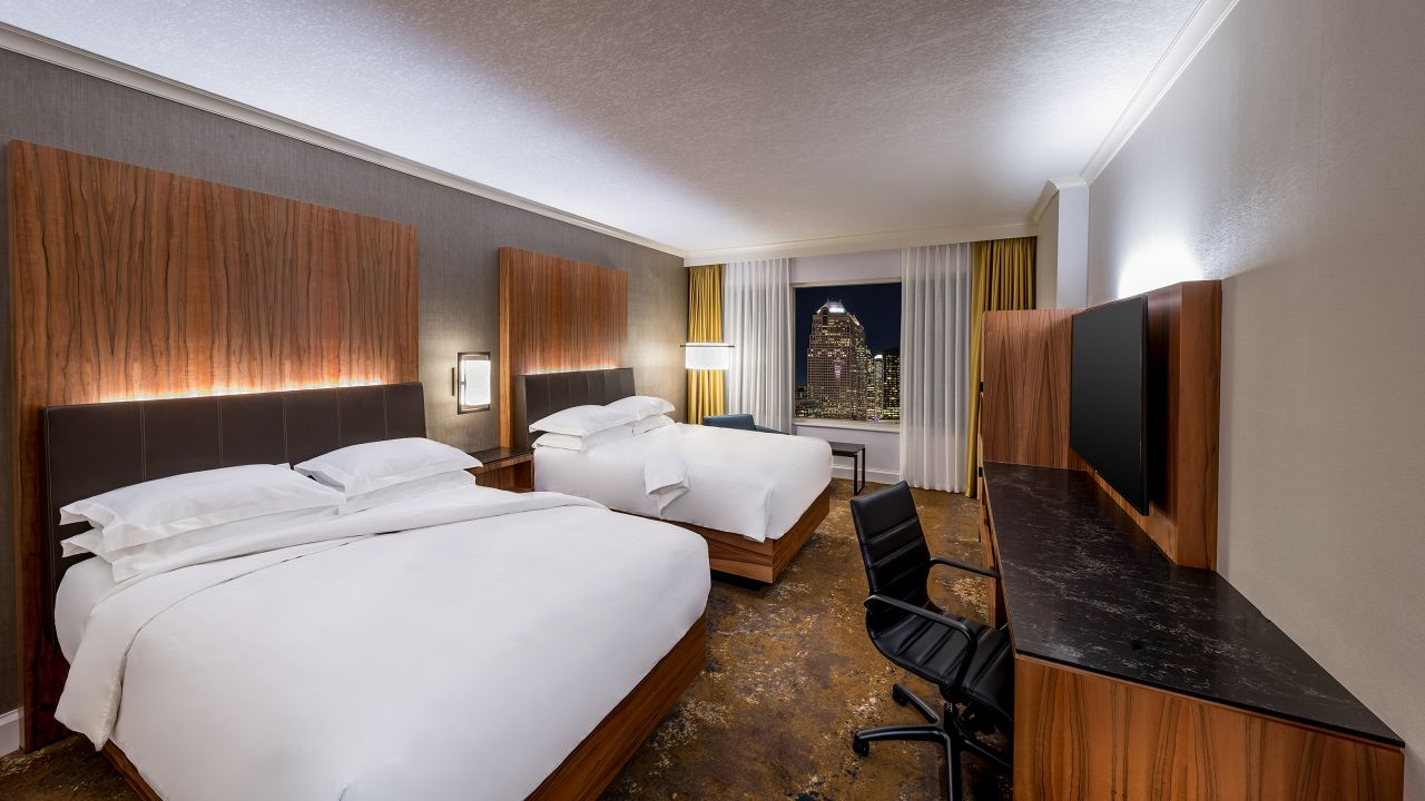 Two queen-sized beds in hotel room