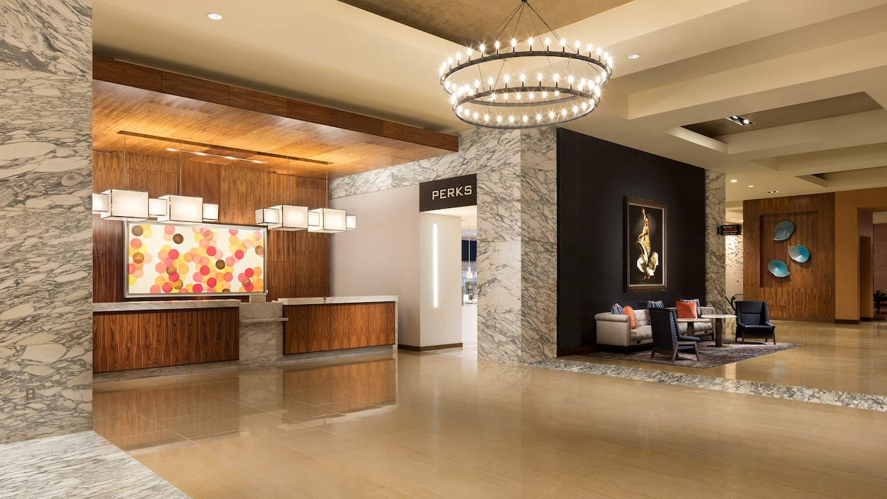 Lobby entrance to a coffee shop inside Grand Hyatt San Antonio