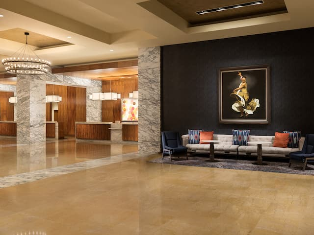 Lobby with Fireplace Grand Hyatt San Antonio