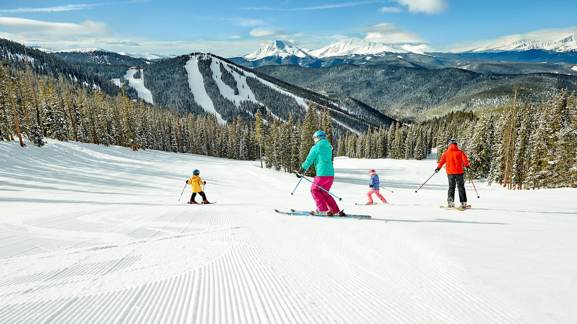 Winter Family Skiing View