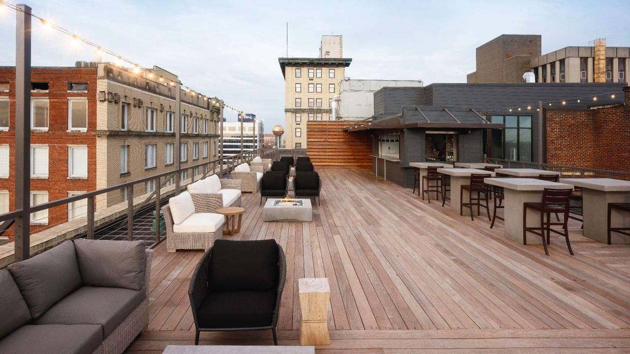 The rooftop event space
