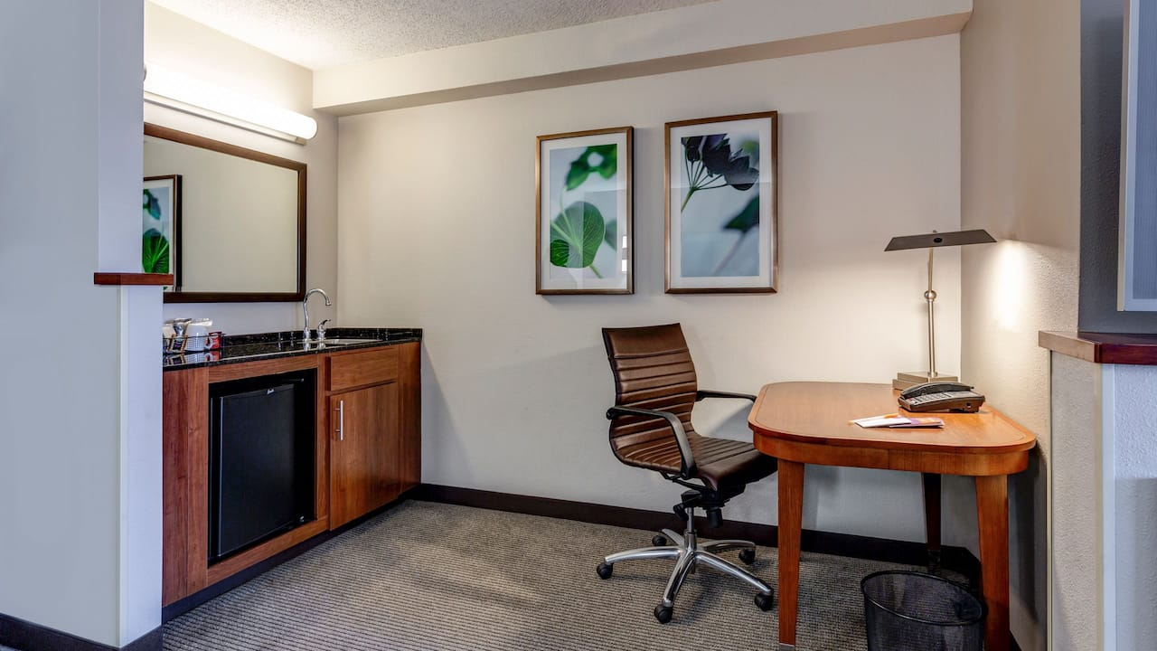 Desk and chair in hotel room