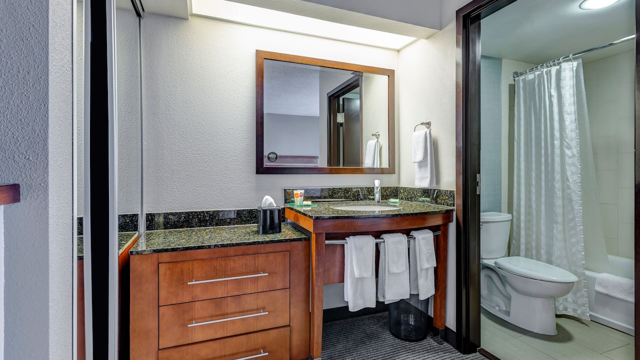 Bathroom sink and mirror in hotel room