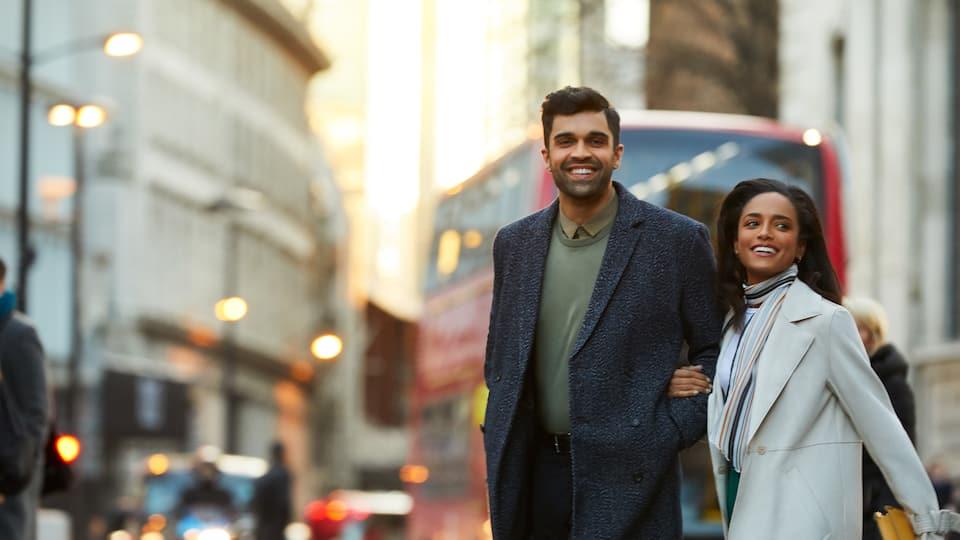 Couple walking in London
