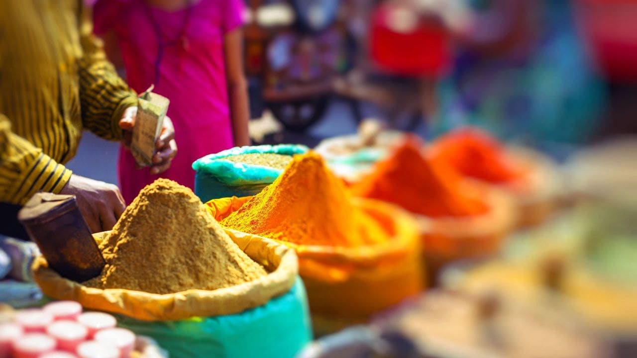 Colorful spices in outdoor Moroccan bazaar
