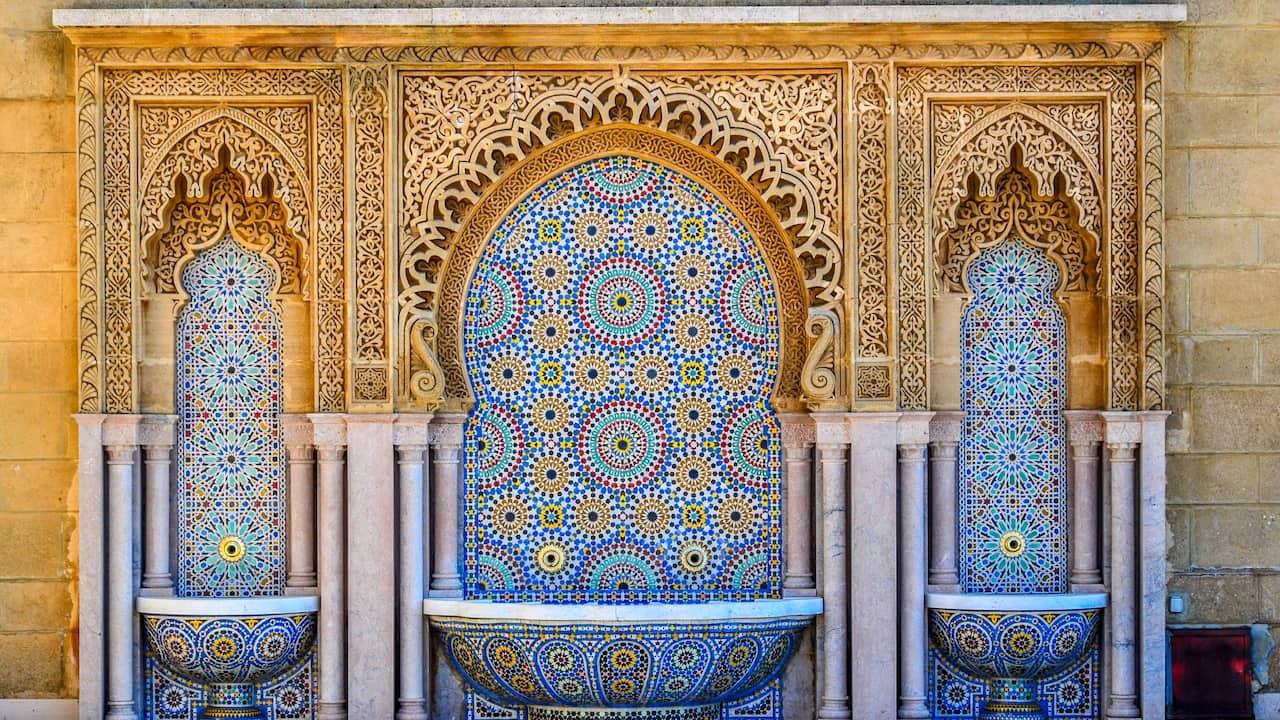 Ornate tile fountain in Casablanca