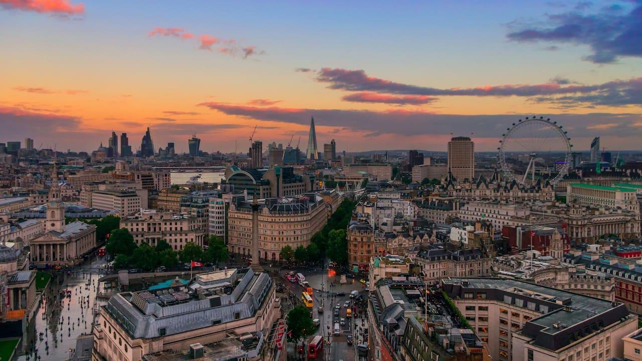 London skyline with London Eye Shard and London City