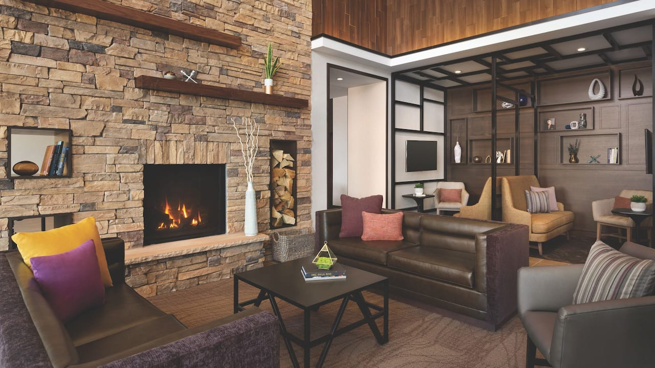 Hyatt Place Page Lake Powell Fireplace Lounge Area