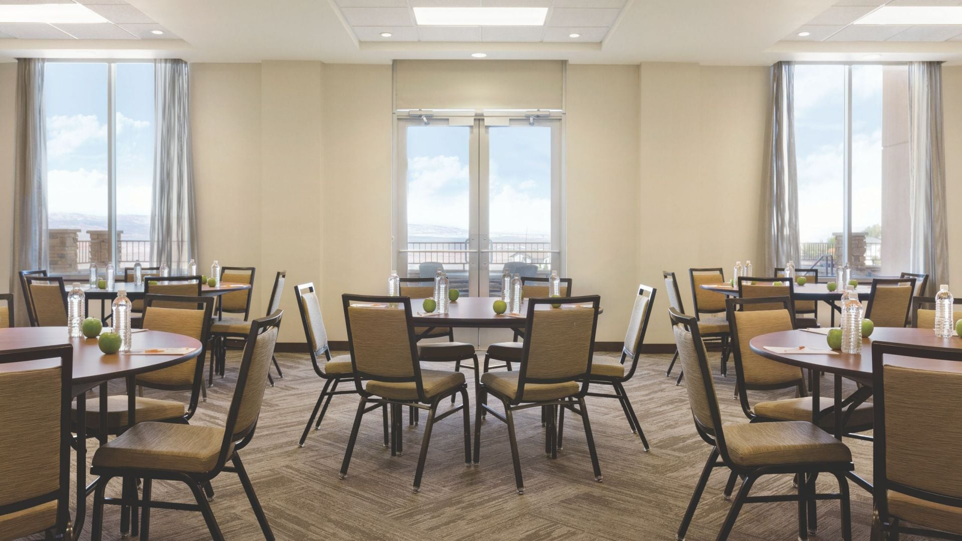 Meeting space with round tables