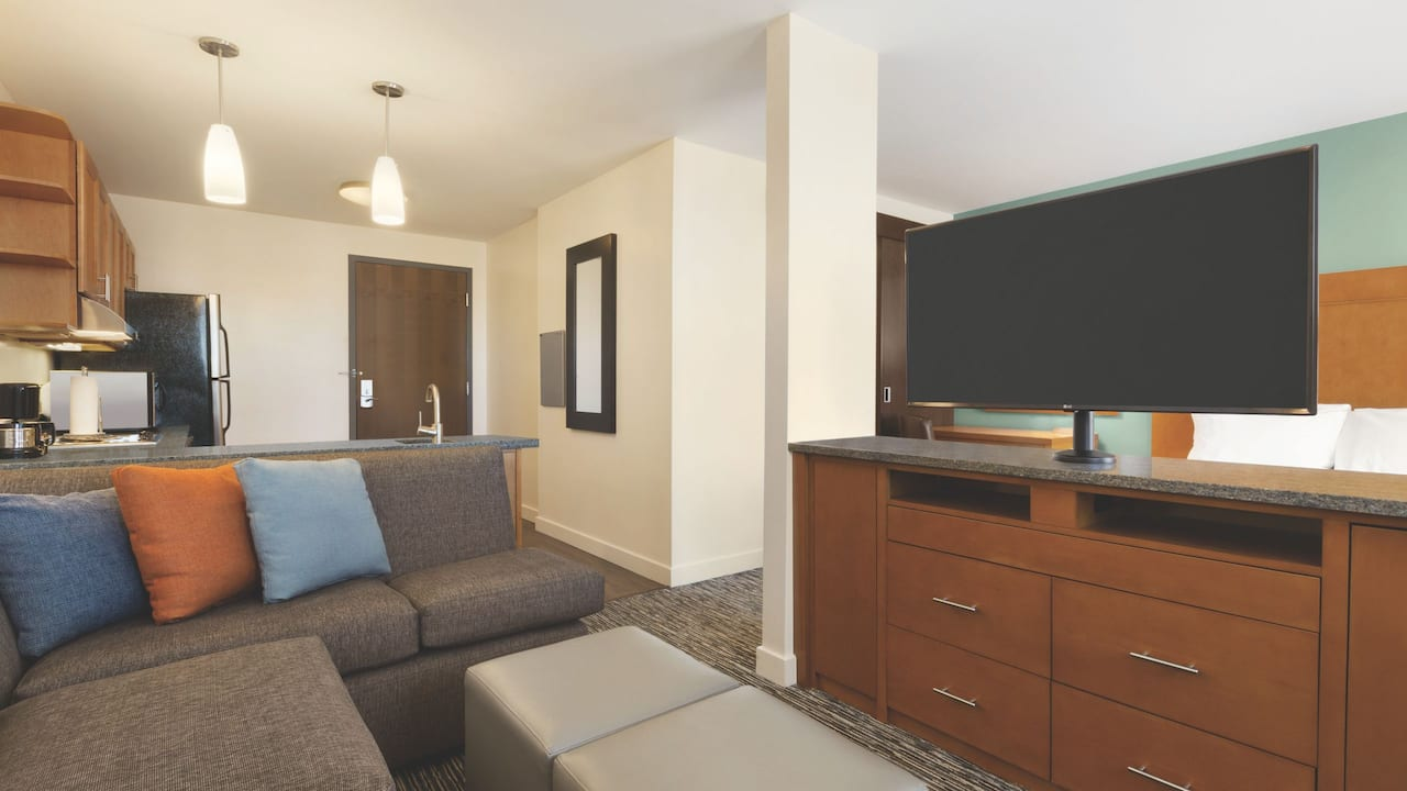 "Separate living and sleeping areas including a 43"" flat-screen HDTV."