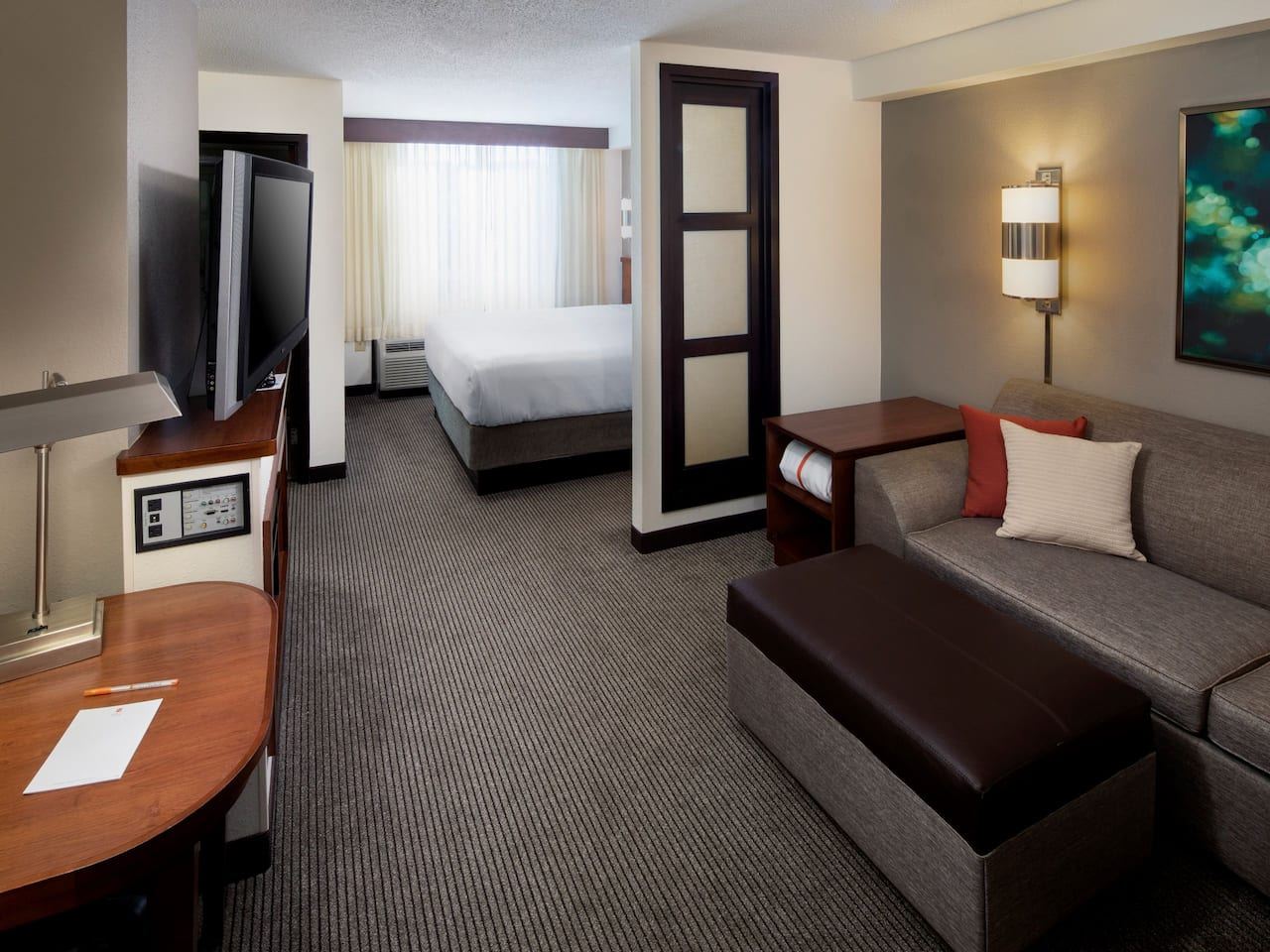 Modern king guestroom with sleeper sofa at the Hyatt Place Roanoke Airport/Valley View Mall