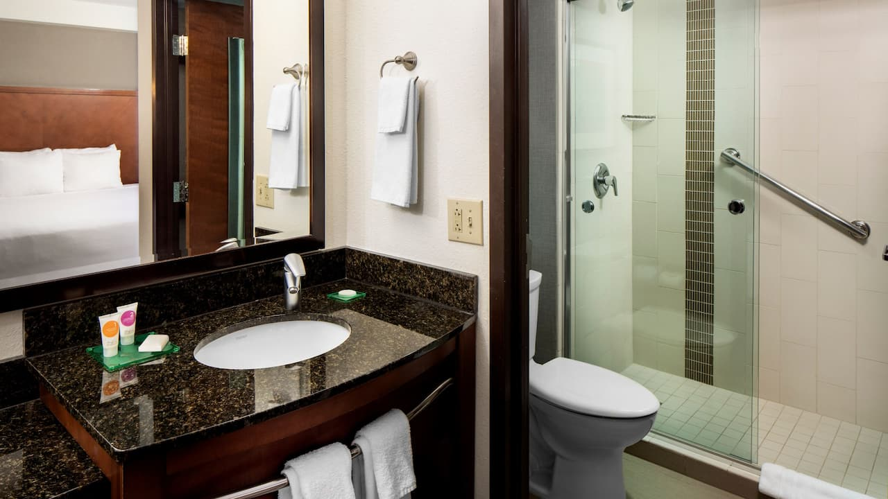Guest bathroom with walk in shower at the Hyatt Place Roanoke Airport/Valley View Mall