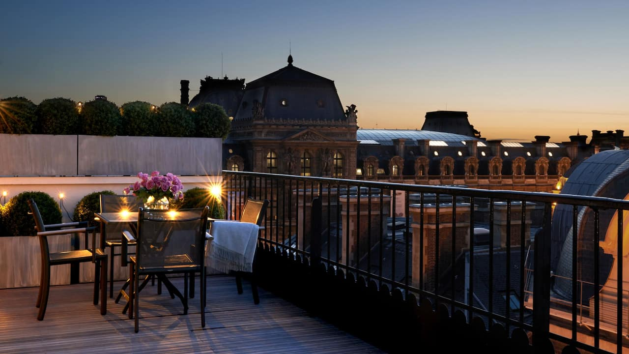 Panoramic suite terrace at night