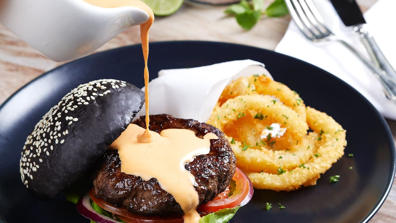 Food and Drink (Black Burger) Fountain Lounge Menu, Grand Hyatt Jakarta