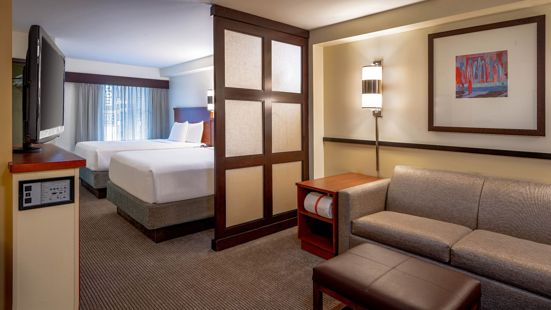 seattle downtown hotel guest room king bed