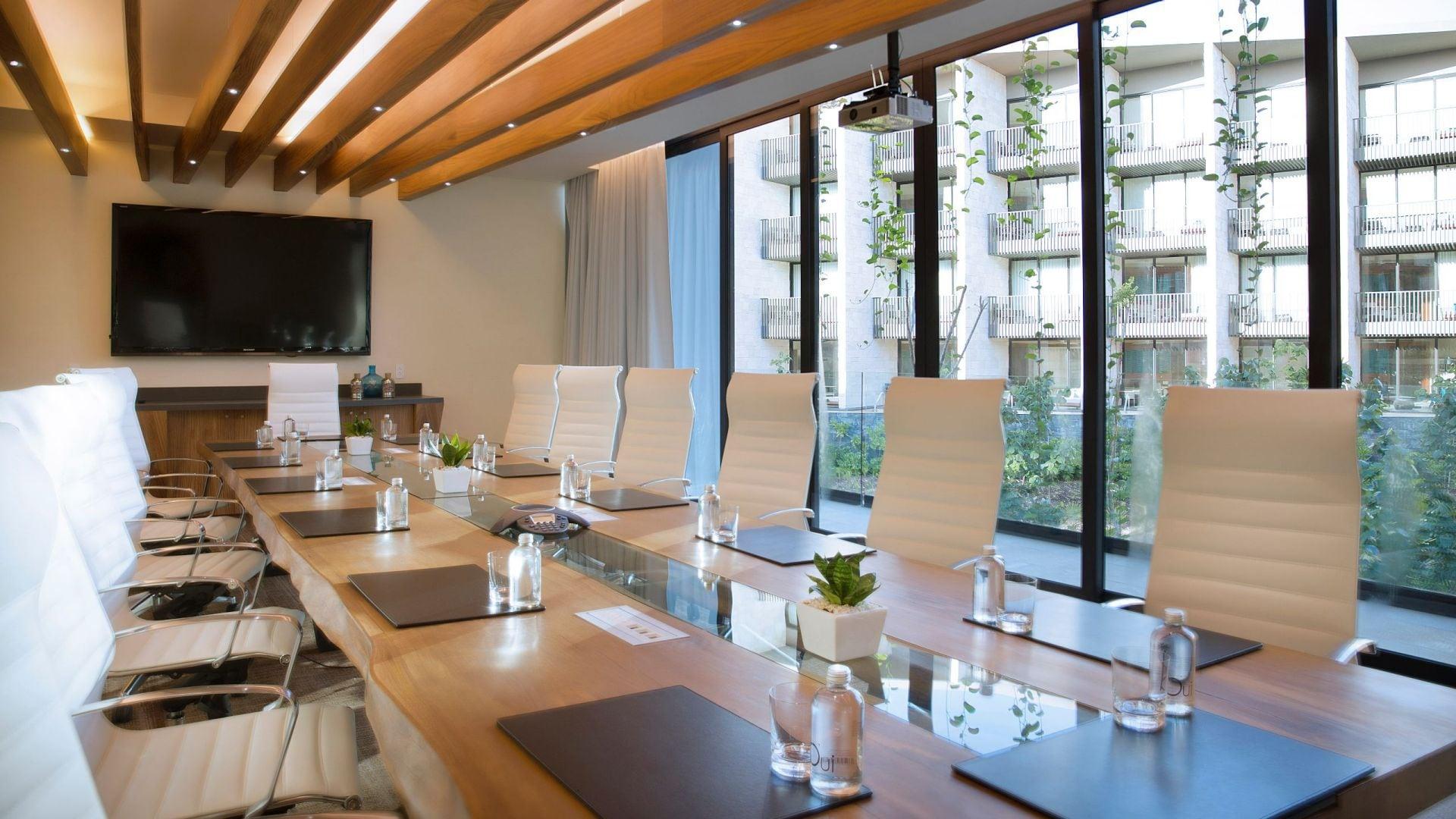 Meeting room with windows