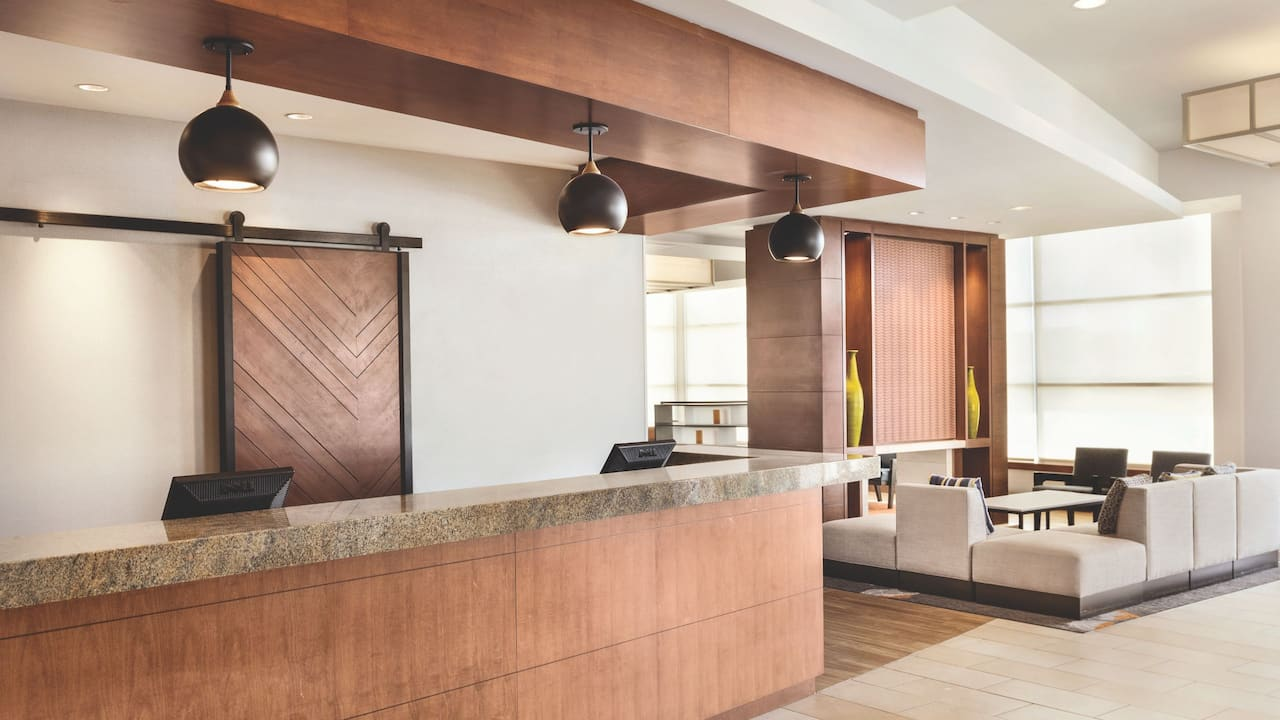 Feel at home in our modern lobby area.