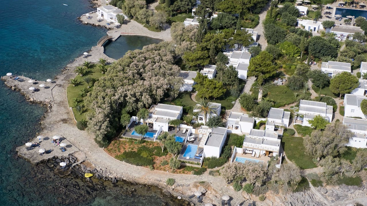 Aerial view of Minos Beach Art Hotel