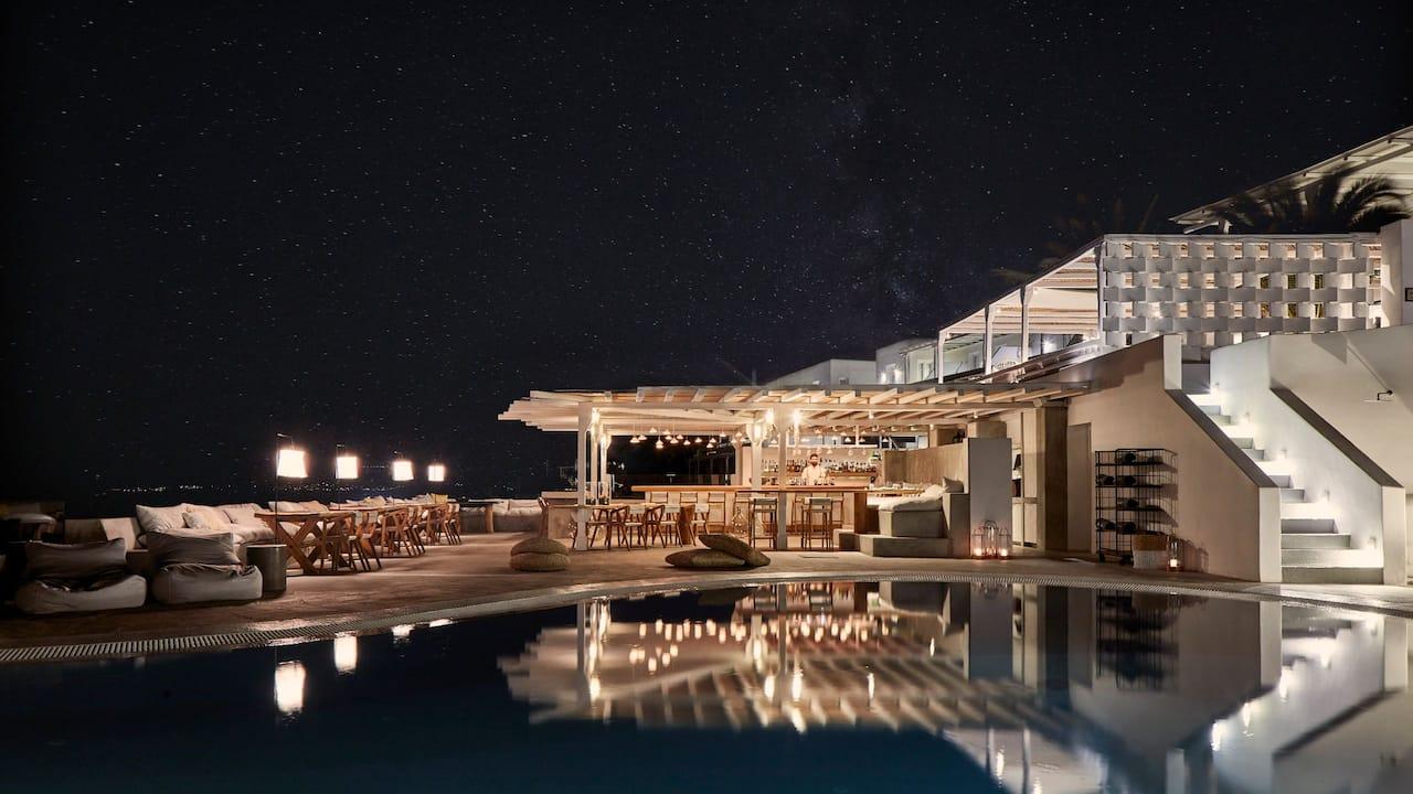 Boheme Hotel at night