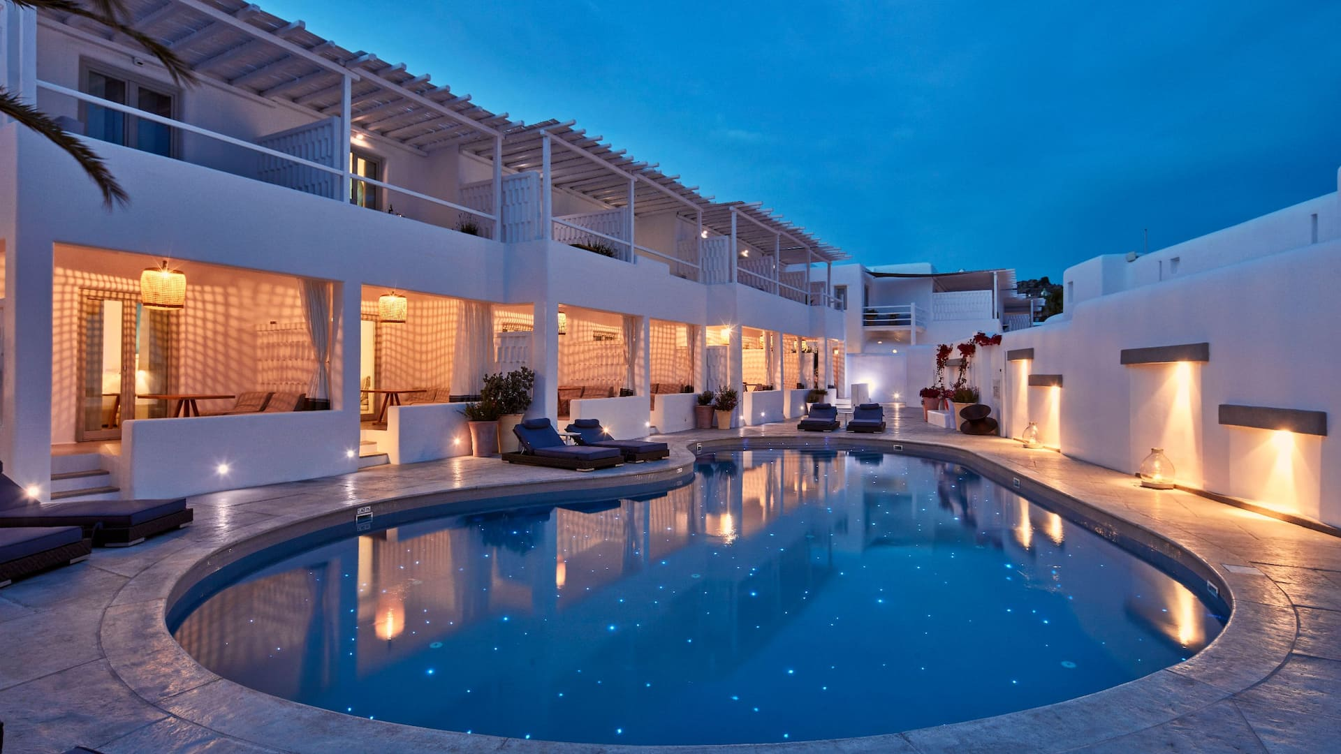Ammos Mykonos pool at night