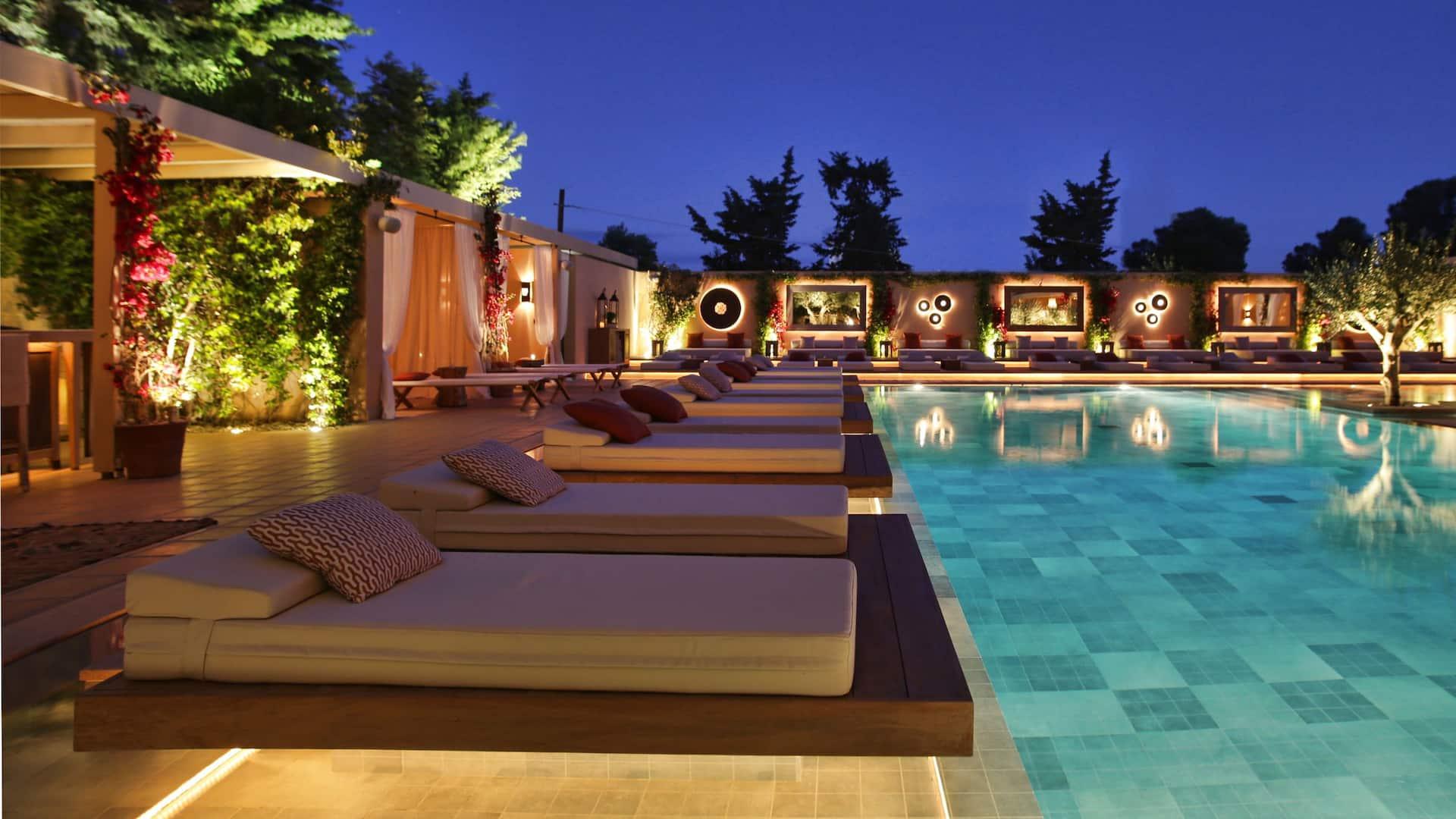 The Margi pool at night