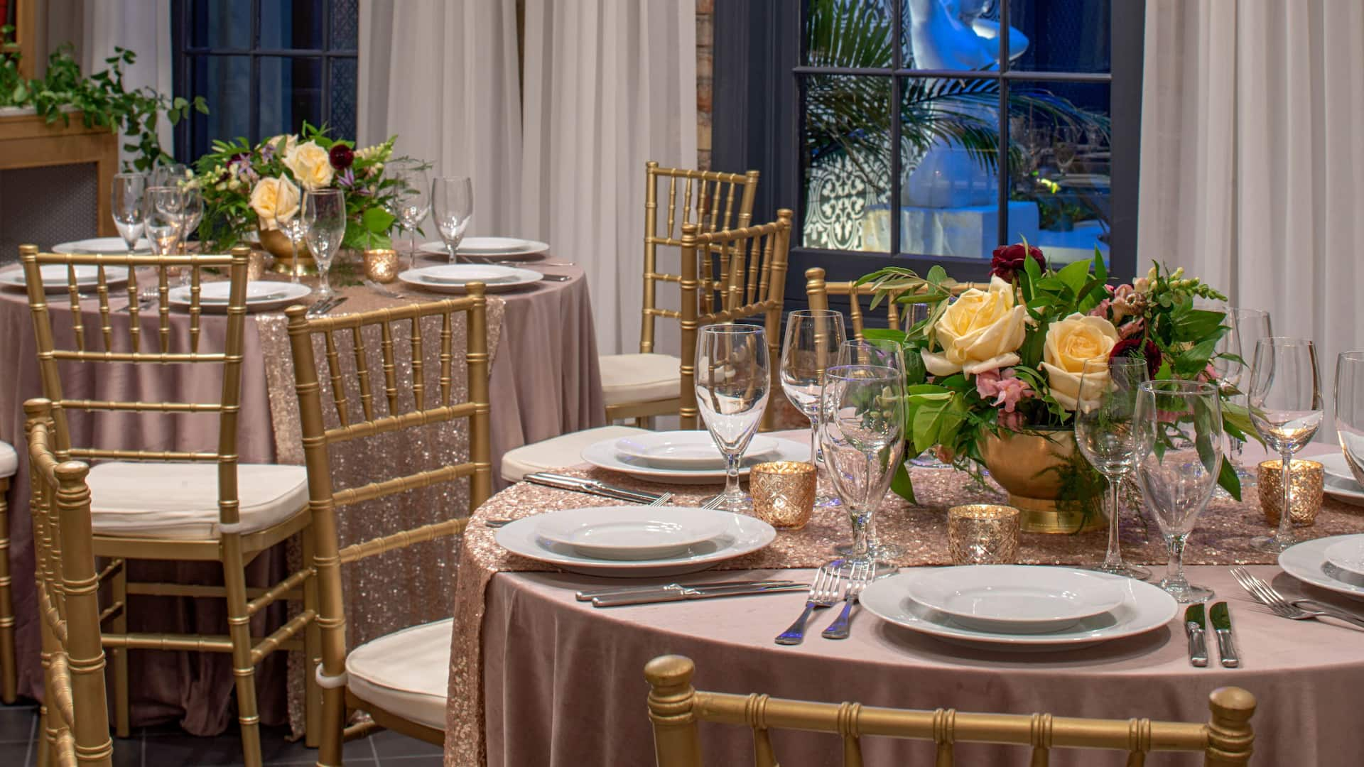 Couvant Private Dining Room set for a romantic rehearsal dinner