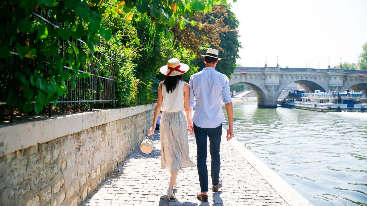 Couple Docks Walking Sunny Day