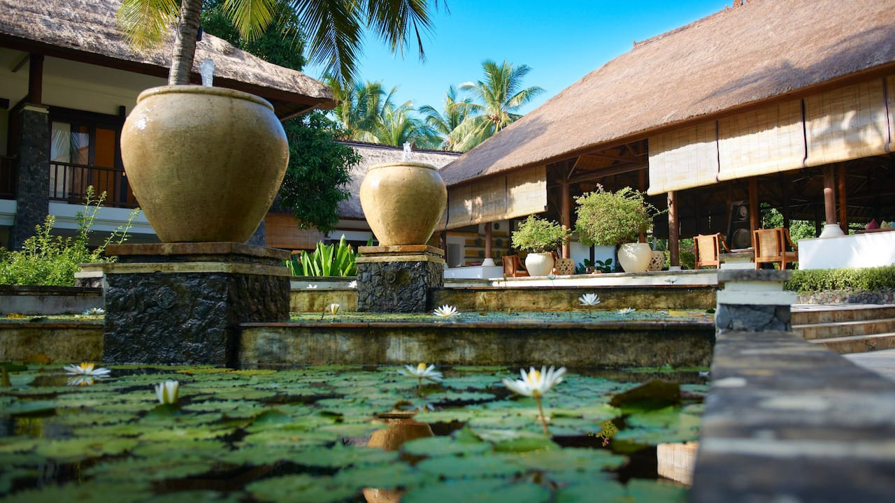 Exterior pond with lily pads and large vases
