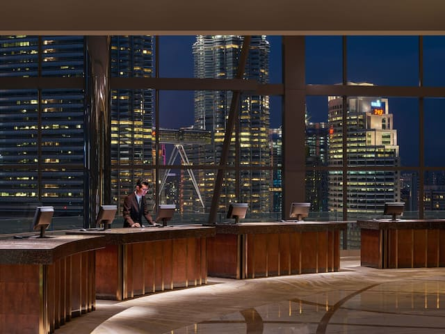 Panoramic view of KLCC and Twin Towers from Sky lobby, Grand Hyatt Kuala Lumpur
