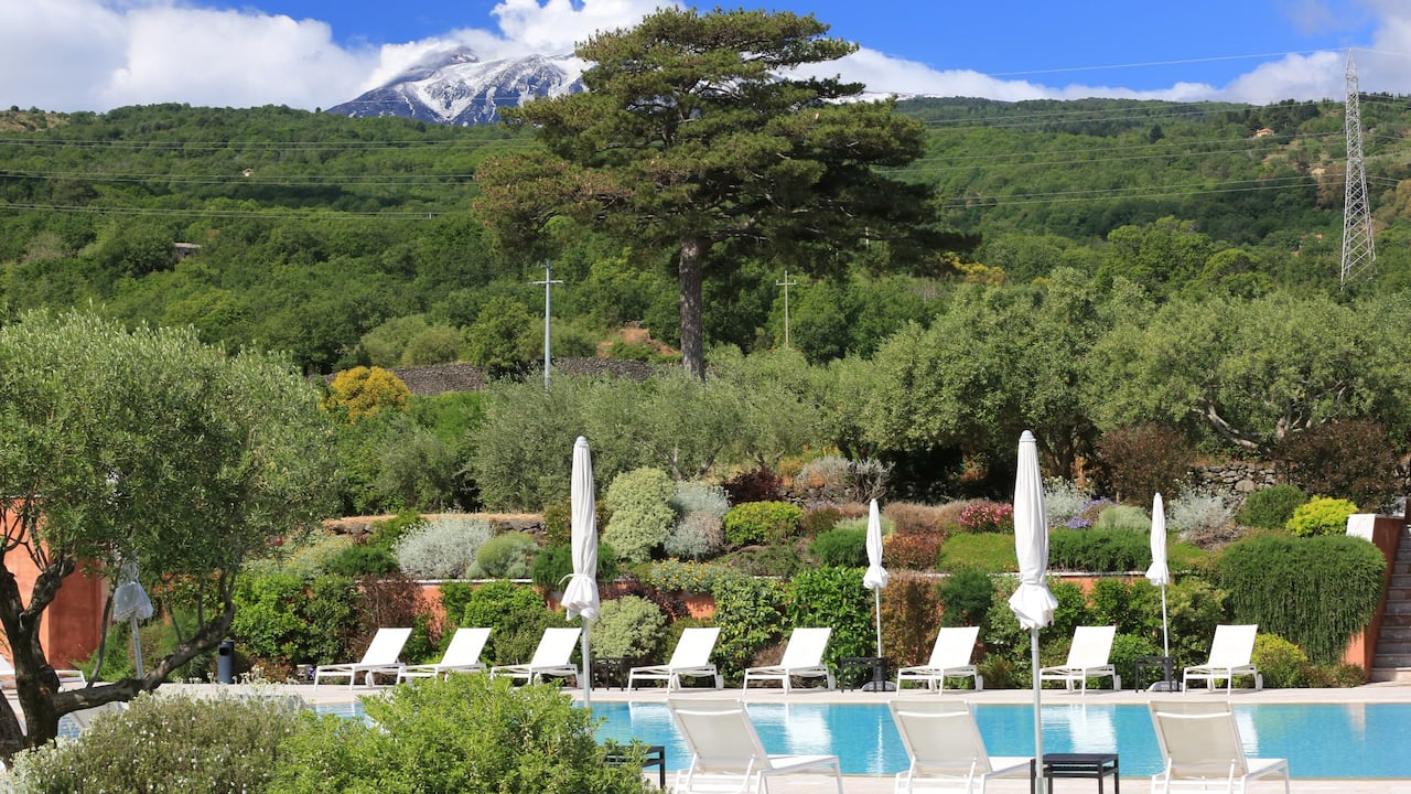 Swimming Pool with Mount Etna Views