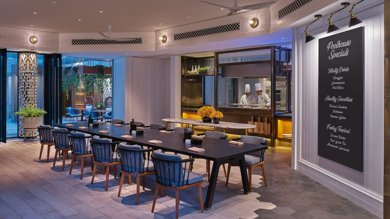 Grand Hyatt Kuala Lumpur - Poolhouse Dining Area and Open Kitchen