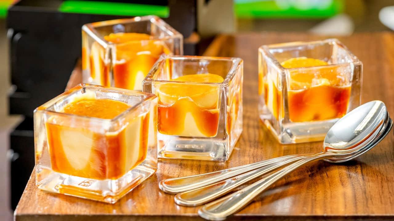 Delicious dessert served in unique cubed dish