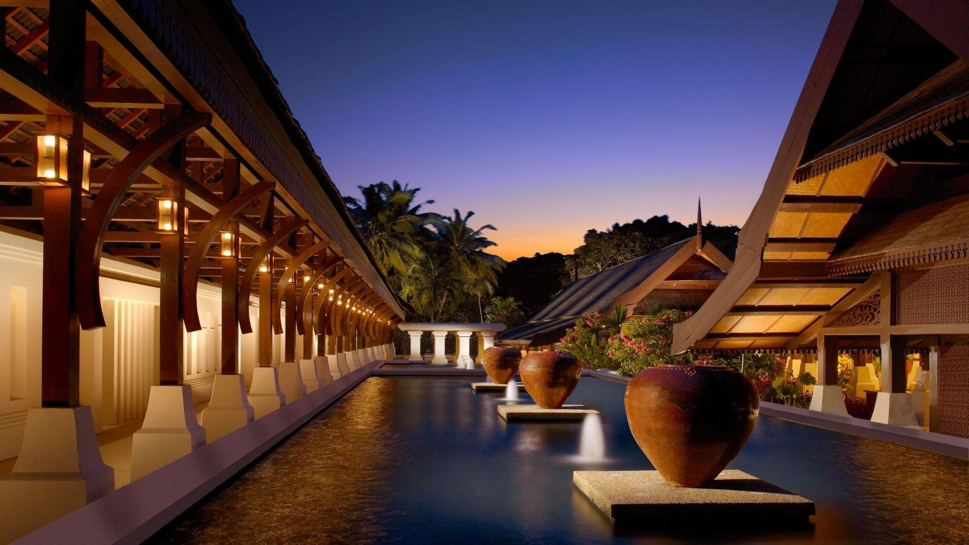 Tanjong Jara resort exterior at night