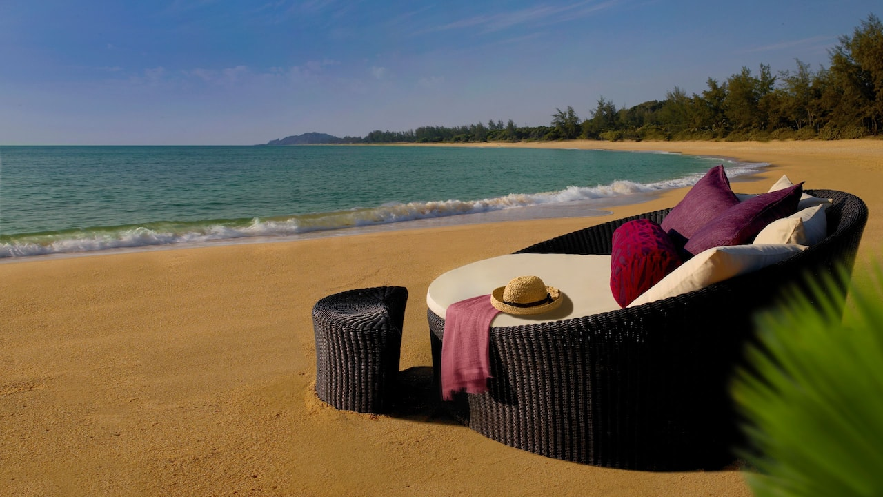 Large, comfortable lounge chair on the Tanjong Jara Resort beach