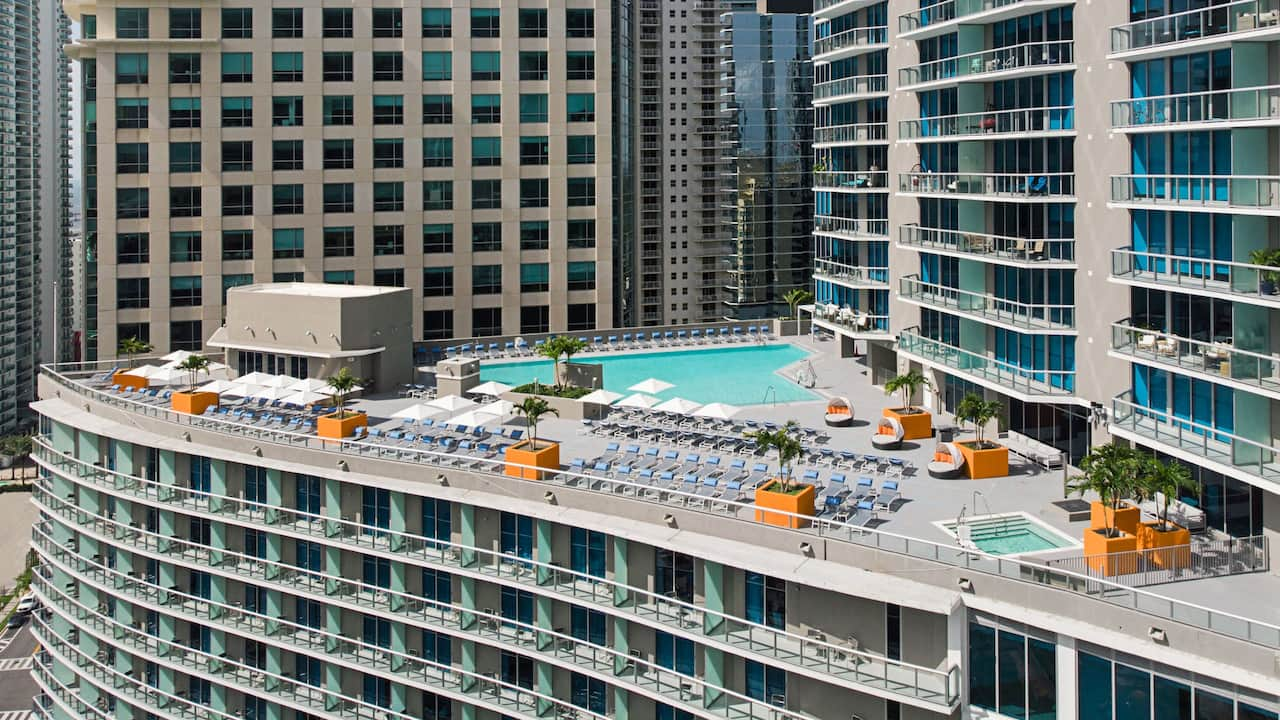 Rooftop pool and balcony at a hotel in Brickell, Miami