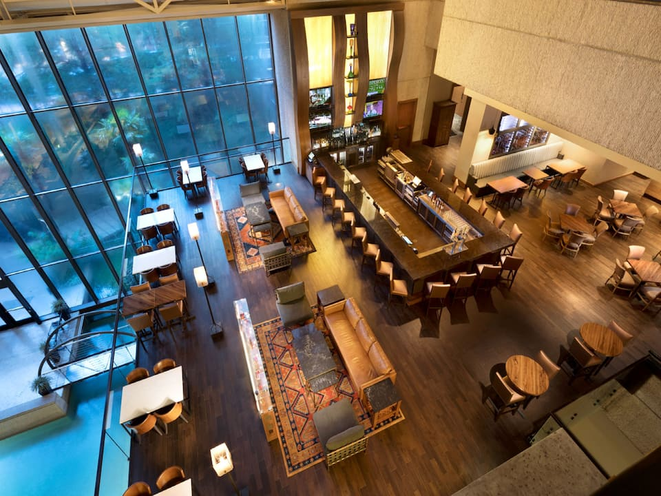 Overhead view of a restaurant and bar inside Hyatt Regency San Antonio Riverwalk