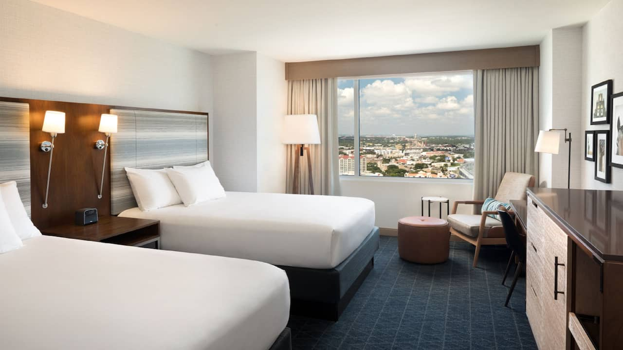 Hotel room with two beds at Grand Hyatt San Antonio