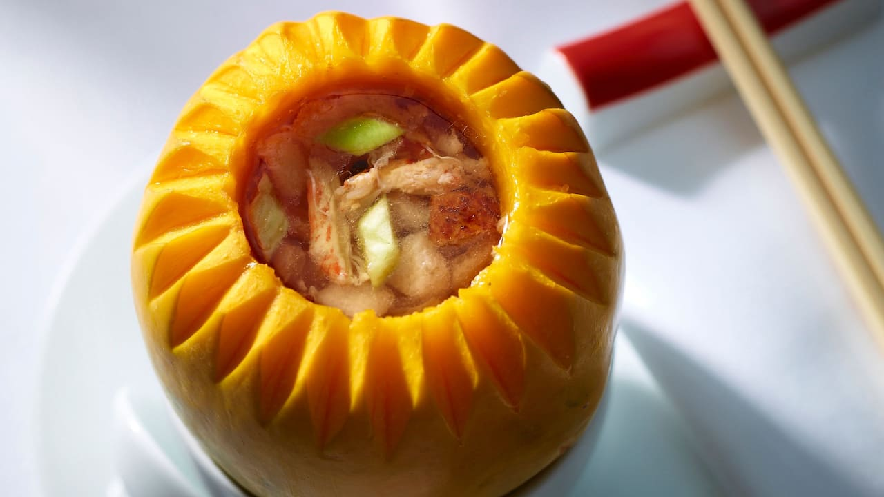 The Chinese Restaurant Double-boiled crab meat soup in young papaya 四寶燉萬壽果