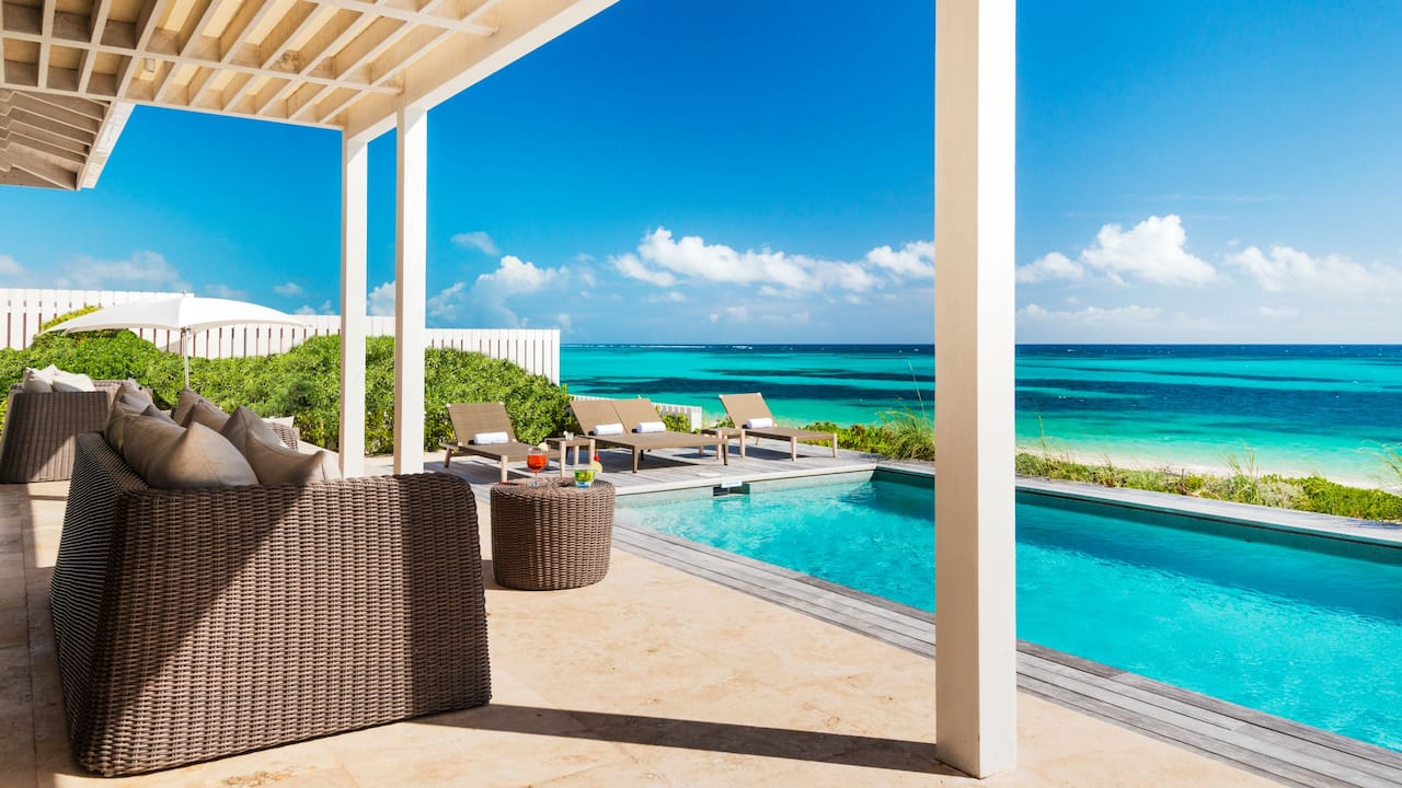 Beachfront Villa Outdoor Pool And Terrace