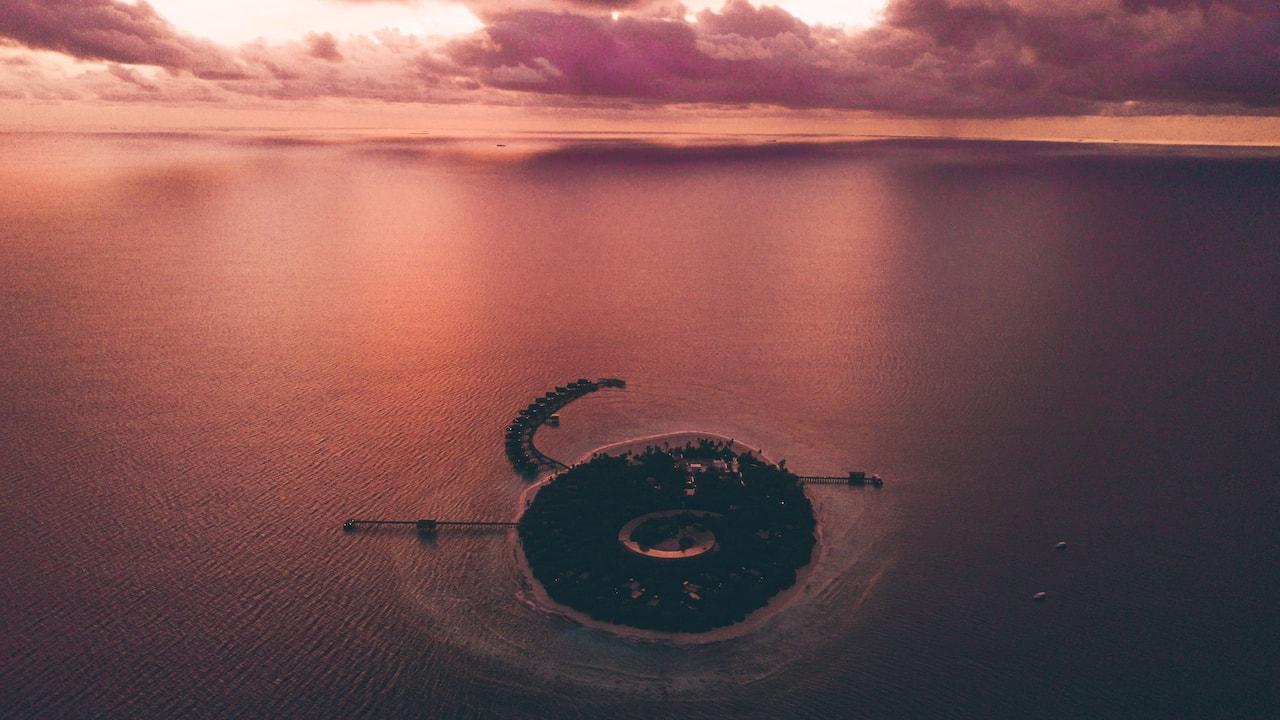 Park Hyatt Maldives Island Aerial Evening View