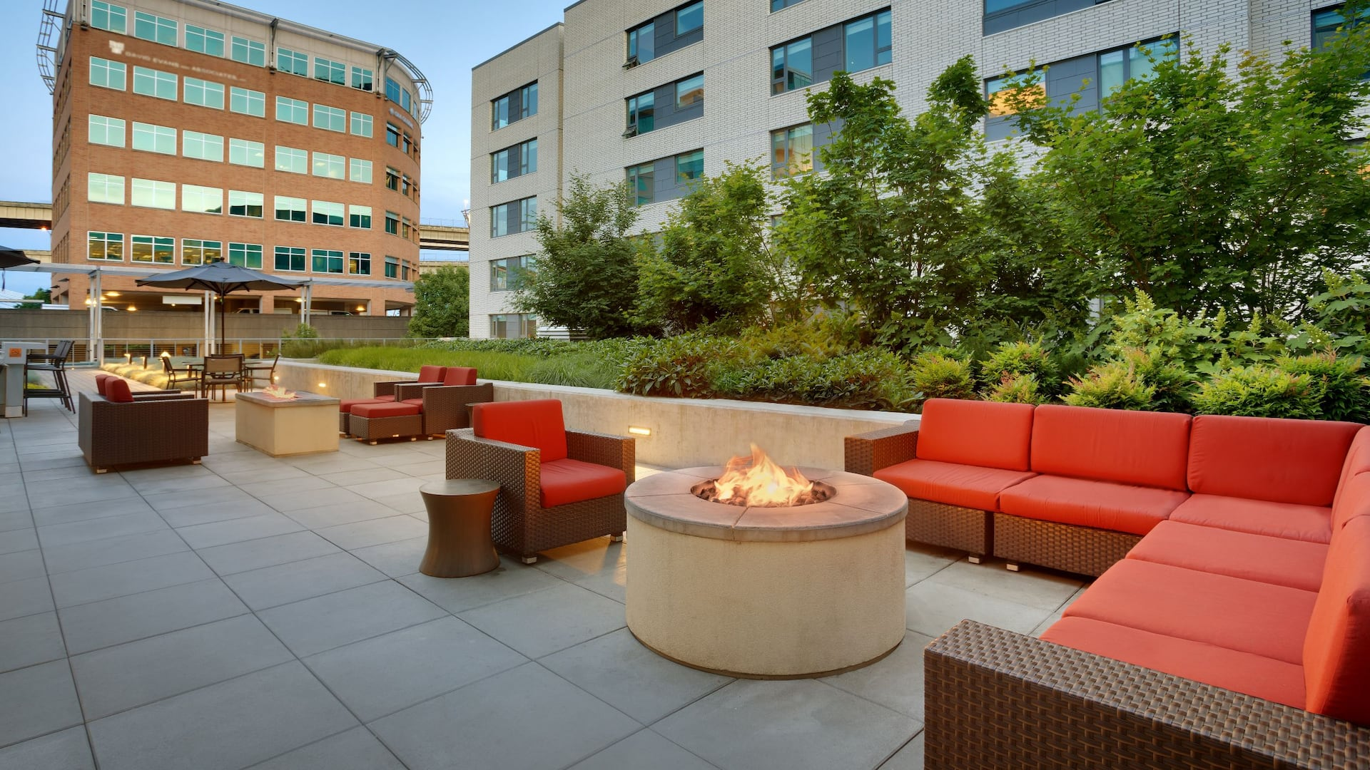 Outdoor Commons Fire Pits Night