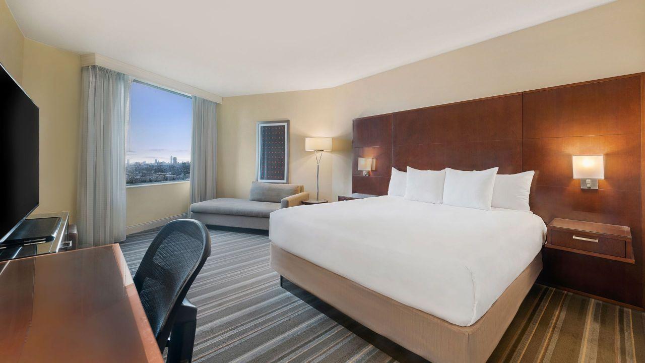 Hyatt Regency Houston spacious guest room with king sized bed