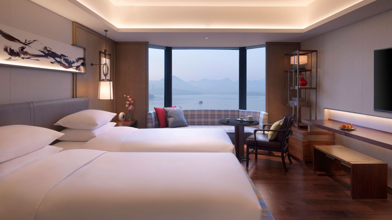 Two Twin Beds with Lake View