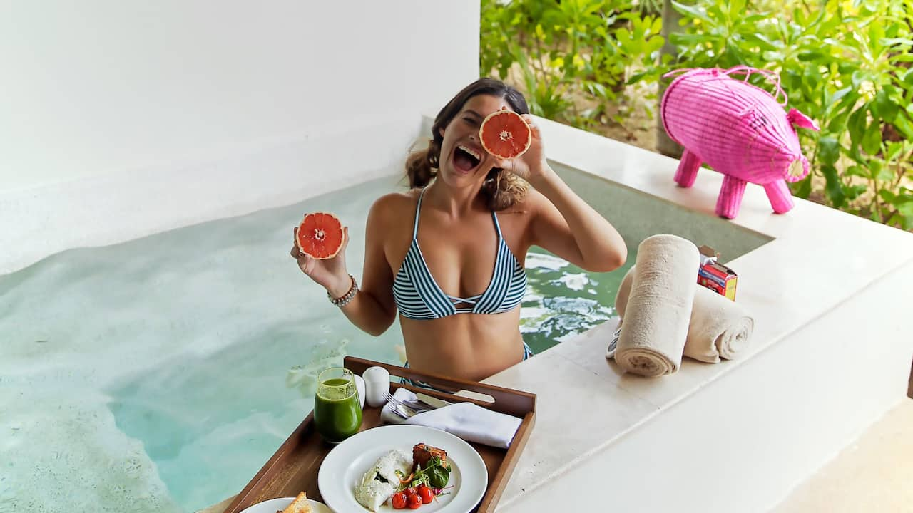 Andaz Mayakoba Resort Riviera Maya Breakfast by Pool