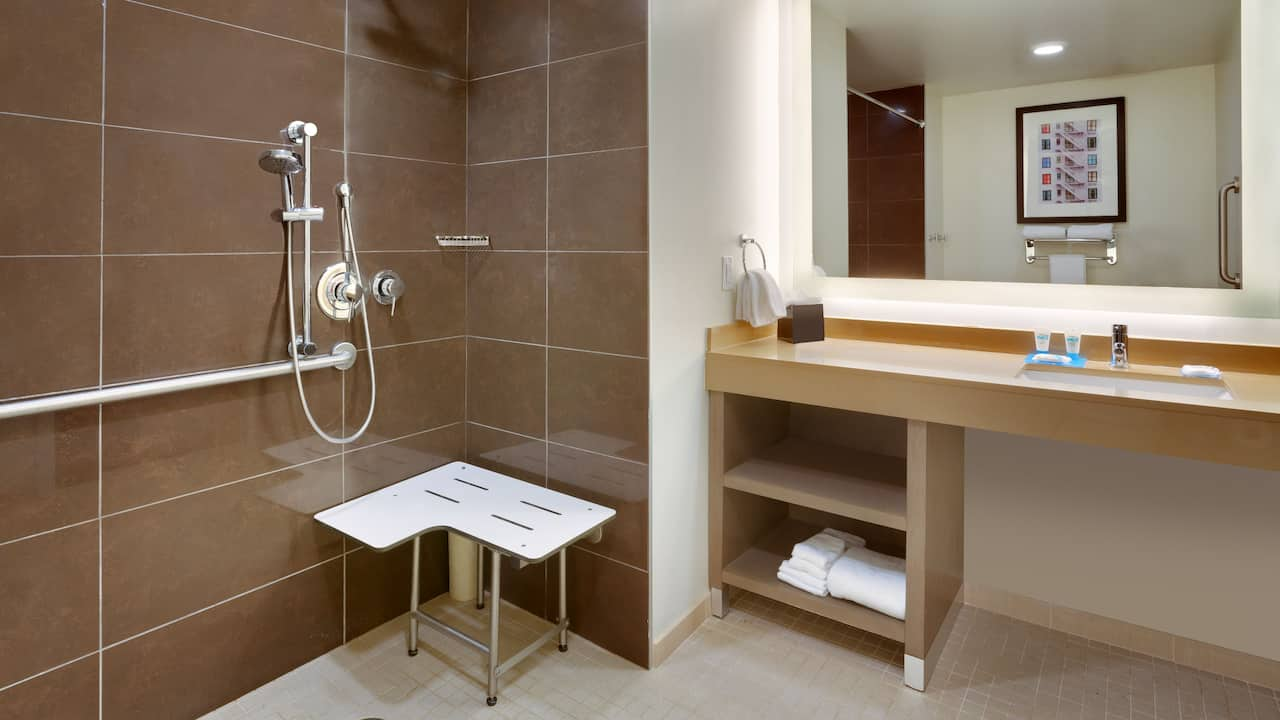 ADA Compliant Hotel Bathroom With A Roll-In Shower