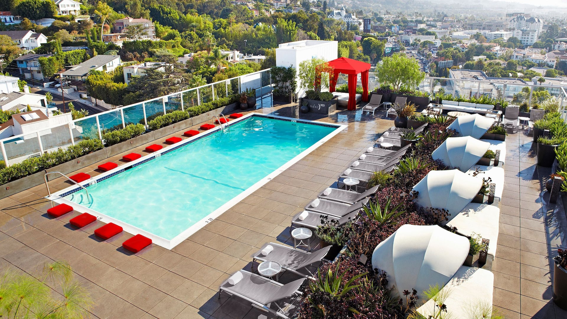 Andaz West Hollywood Sundeck Red Cabana
